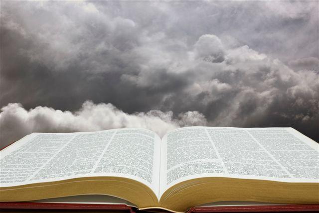 Horizontal image of Bible and creation sky